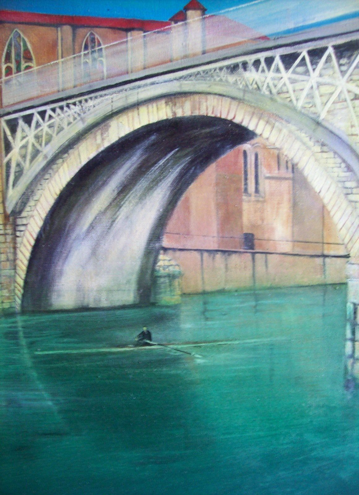 Toile d'Ali Aïssaoui, 2015. Photos du Pont Vieux entre Bourg de péage et Romans (vers 1910).