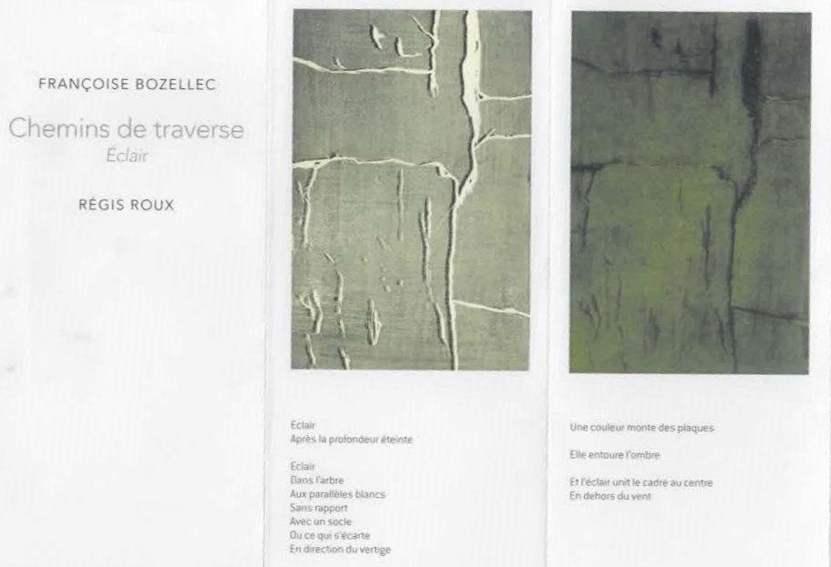""""""" Chemins de traverse """" ( gravures de Françoise Bozellec/ poèmes de Régis Rloux&#x3B; novembre 2016)"""