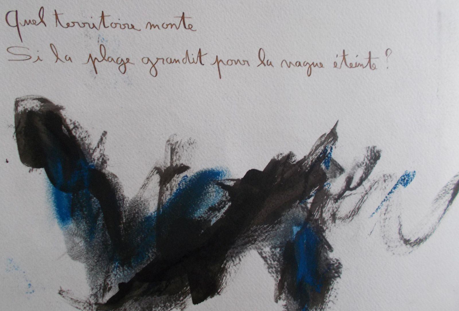 A TRAVERS L'OMBRE, livre d'artiste en deux exemplaires. Poèmes de Régis Roux/ Encres et fusains de Marie De Rocca Serra&#x3B; 2016.
