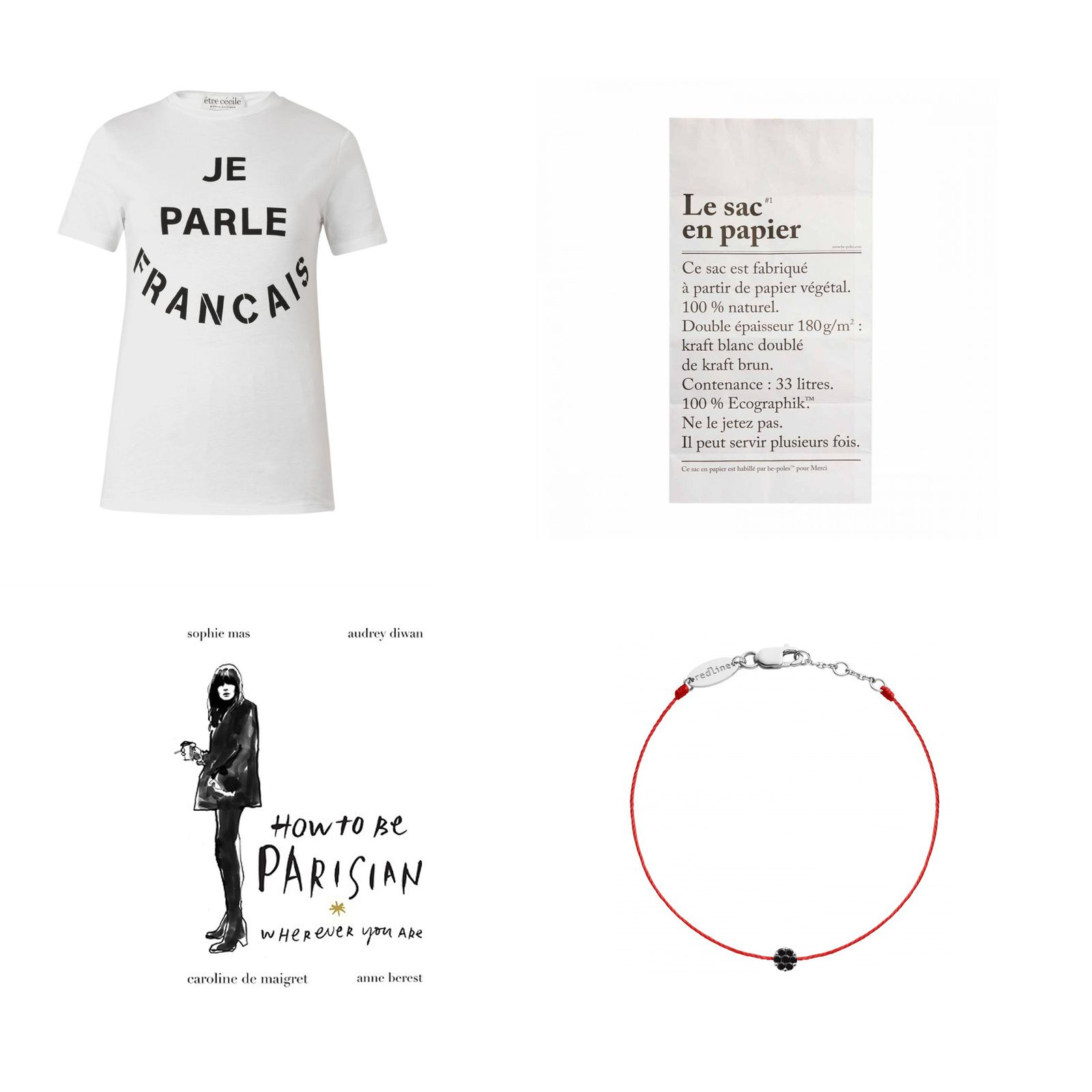 T-Shirt Etre Cecile, Sac en Papier chez Merci, Livre How to be Parisian (wherever you are), bracelet Illusion diamant noir REDLINE