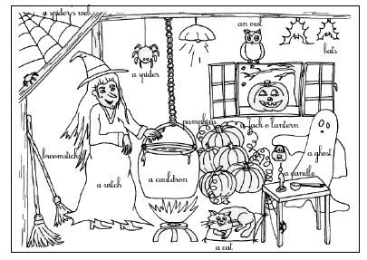 coloriage halloween anglais la classe de myli breizh. Black Bedroom Furniture Sets. Home Design Ideas