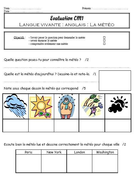 Evaluation d'anglais sur la météo CM1 (weather)