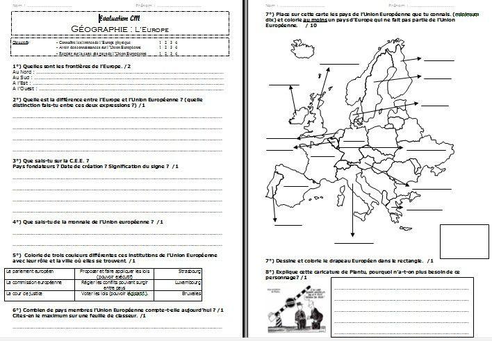évaluation CM1 - CM2 l'Europe géographie  l'europe