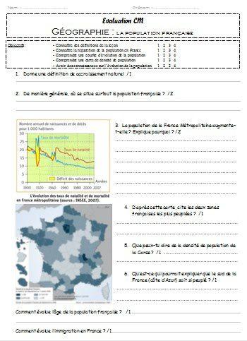 évaluation géographie cm1 cm2 la population française