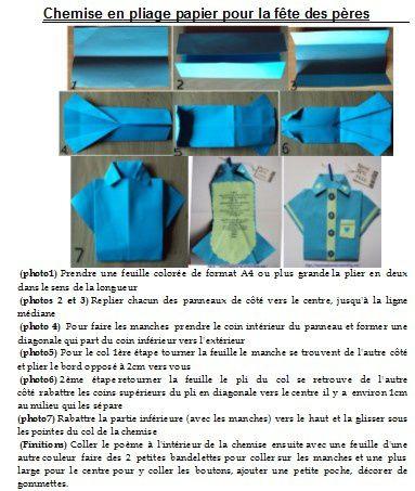 Carte de la fête des pères, chemise en papier
