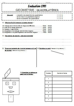 Evaluation quadrilatères CM1 et CM2