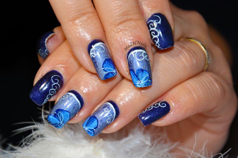 Ruffian manucure, arabesques et fleurs bleues