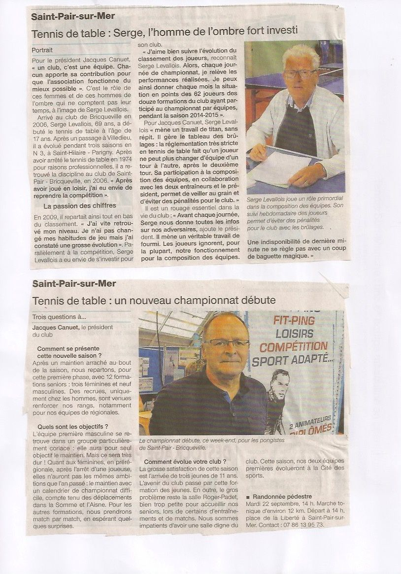 La presse en a parl saint pair bricqueville tennis de table - Ligue de basse normandie de tennis de table ...