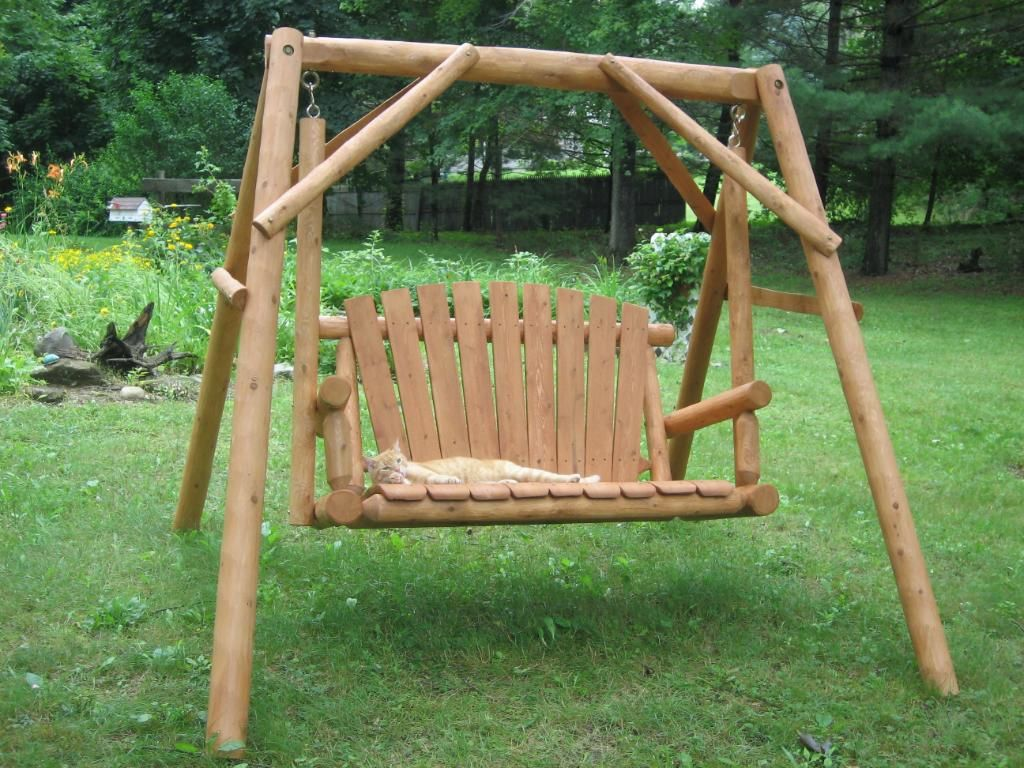Log porch swing plans for Outdoor swing plans