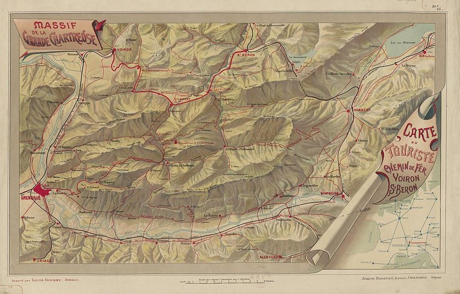 Le massif de Chartreuse, carte faite par Guillaume DAUGE