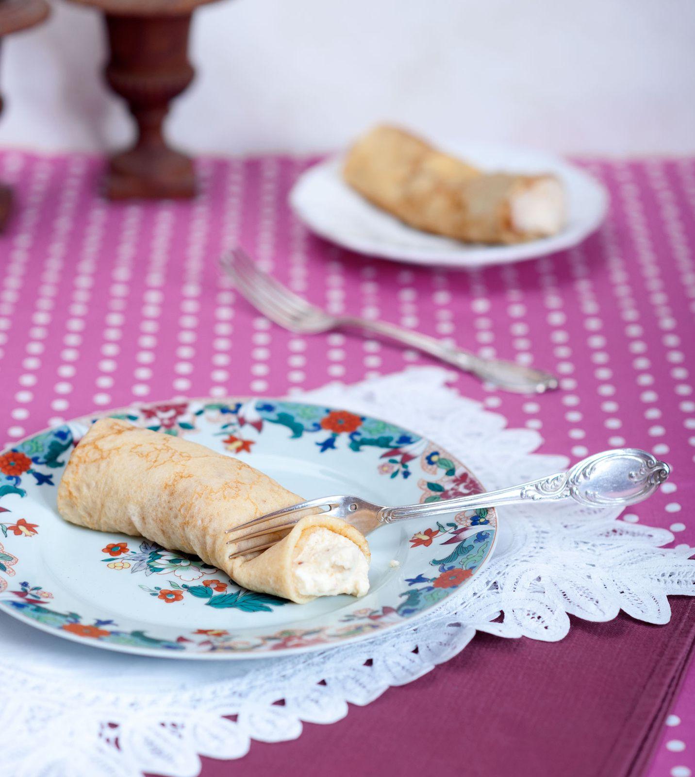 Crêpes gourmandes à la mousse légère chocolat blanc-caramel