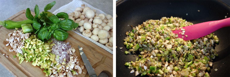Ravioli aux champignons, courgettes, échalotes et ricotta