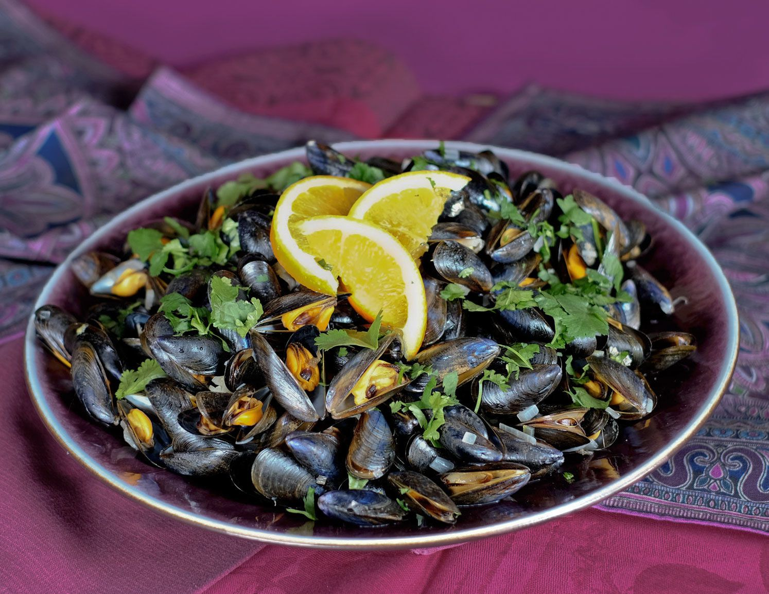 Moules à l'orange-citron-gingembre et coriandre