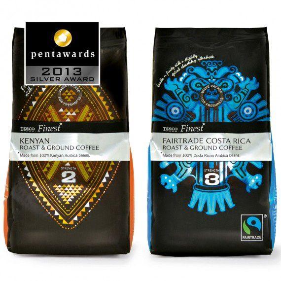 Design : Pemberton & Whitefoord pour le café Tesco (Grande-Bretagne) // Catégorie : Marques de distributeur