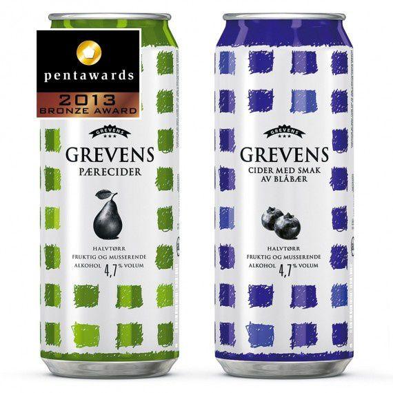 Design : Tangram Design pour la marque Hansa Borg Breweries – Grevens Cider (Norvège) // Catégorie : Cidres & boissons à faible taux d'alcool