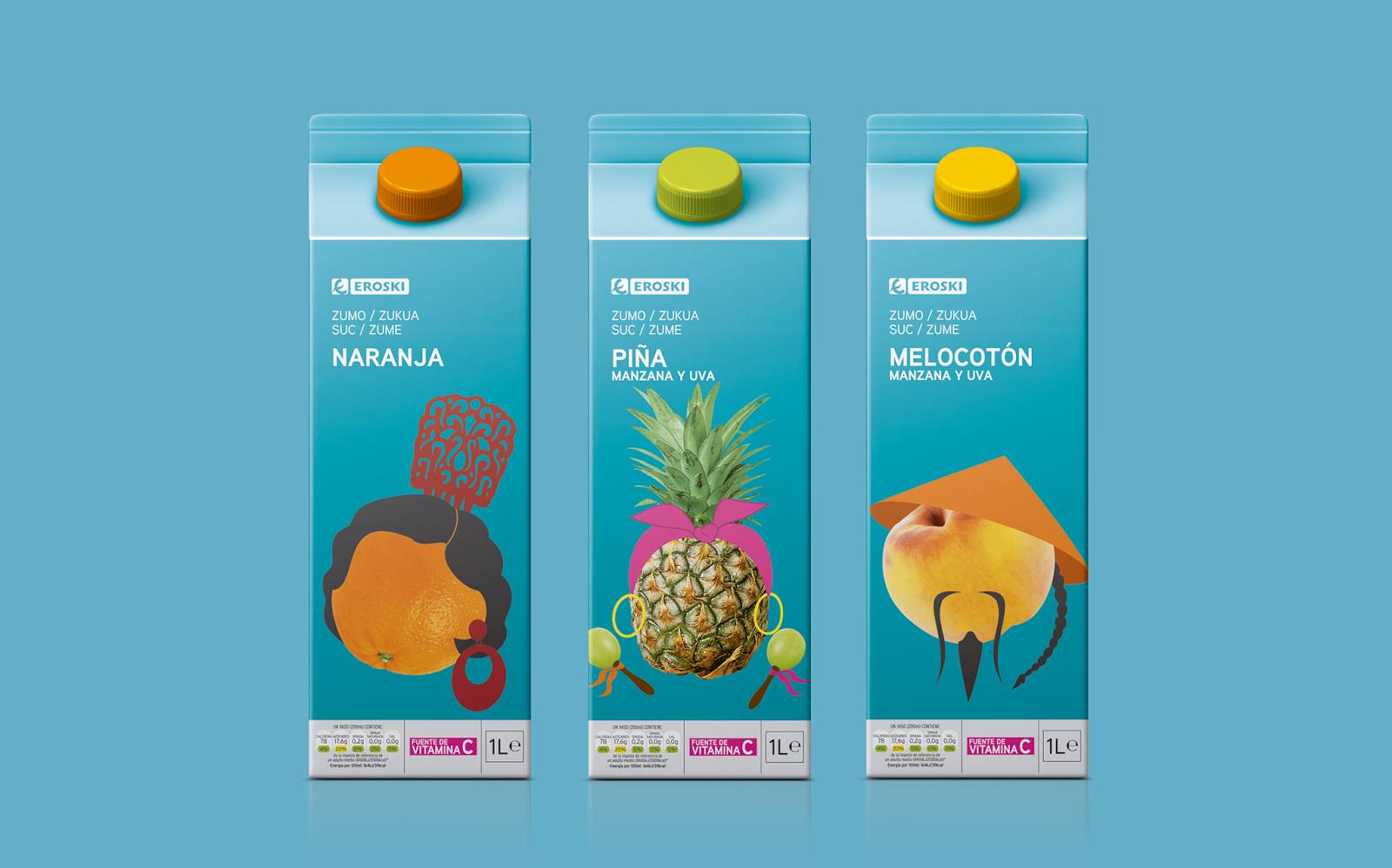 Création : Supperstudio, Espagne pour les jus de fruits de la marque Eroski (2014)