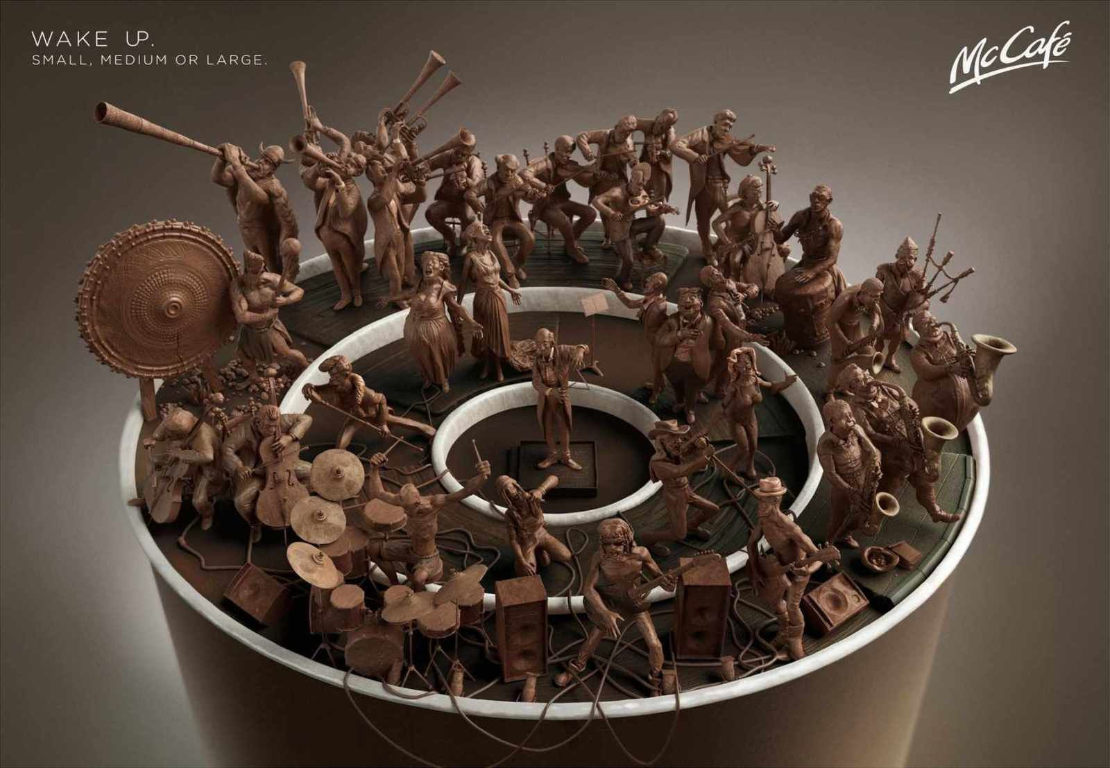 """Wake up. Small, medium or large"" 
