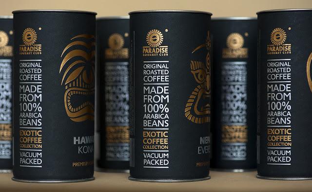 Exotic coffee collection   Design : ARTEMOV ARTEL Design Studio, Kyiv, Ukraine, pour Paradise. Gourmet-club (septembre 2014)