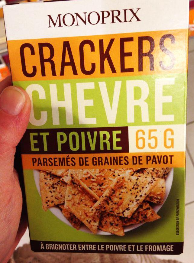 """"""" A grignoter entre le poivre et le fromage"""" - Crackers chèvre & poivre Monoprix"""