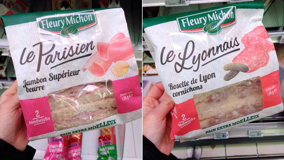 Sandwichs Fleury Michon au pain extra-moelleux : Le Parisien et Le Lyonnais