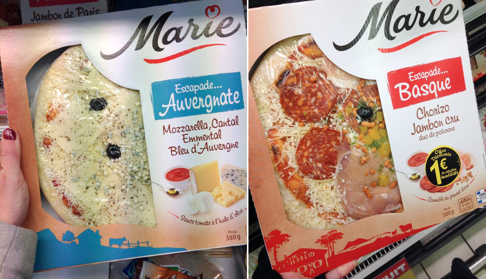 Pizzas Marie : Escapades Auvergnate / Basque / Poitevine / Parisienne
