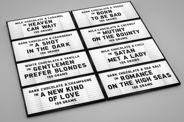 Tablettes de chocolat pour le Museum of the Moving Image | Design (concept) : Une idée de Vadim Skorobogatyy, Moscou (Russie) & Lausanne (Suisse), février 2015