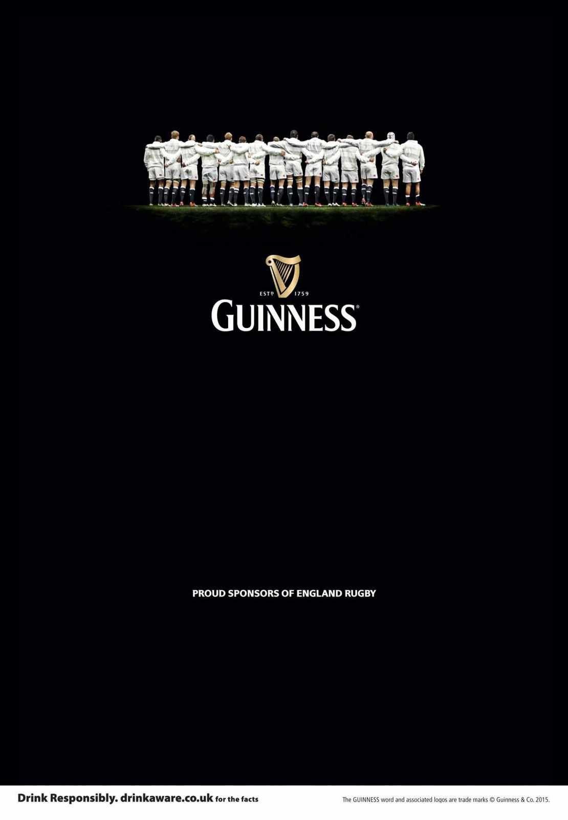 """Proud Sponsors of England Rugby"" | Agence : Irish International / BBDO, Dublin, Irlande pour la bière Guinness (février 2015)"