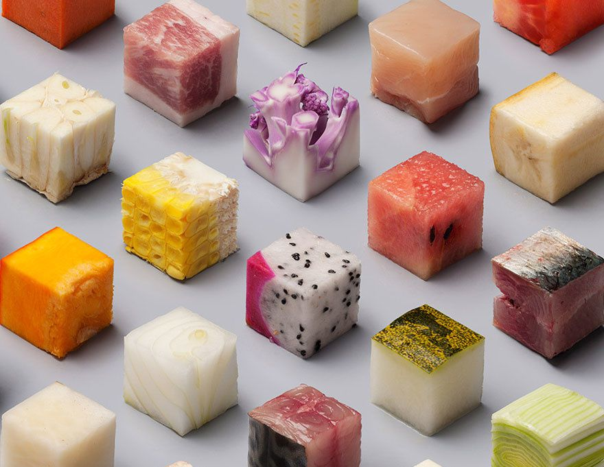 The Food Cube Poster | Création : Lernert & Sander pour le magazine hollandais « De Volkskrant »