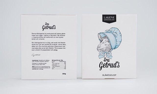 Lakene Gårdsmejeri (produits laitiers) | Design (projet étudiant) : Frida Ekelund, Jasper van Wolferen, Ronja Hallgren, Maarit Hautamäki (Brobygrafiska), Suède (mai 2015)