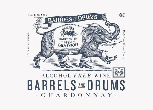 Barrels and Drums - Enjoy Wine & Spirits (vins sans alcool) | Design : Neumeister, Stockholm, Suède (juillet 2015)