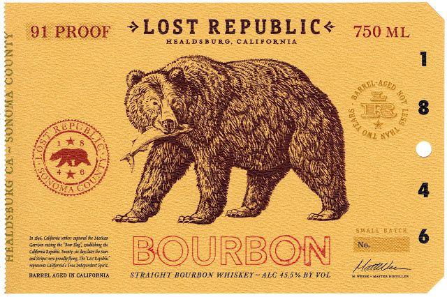 Lost Republic Bourbon - Dry Creek Distilling Co. (bourbon) | Design : Auston Design Group, Emeryville, Etats-Unis (septembre 2015)