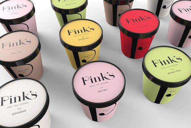 Pink's Thai ice cream (glaces) | Design : Creative Retail Packaging (CRP), Seattle, Etats-Unis (septembre 2015)