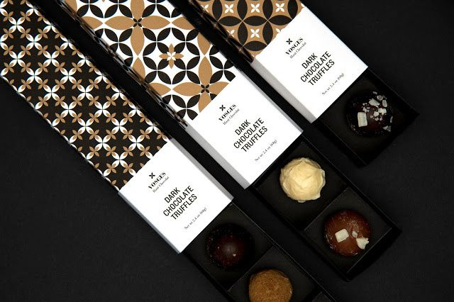 Vosges (truffes en chocolat) | Design (projet étudiant) : Kajsa Klaesén (School of Visual Arts), New-York, Etats-Unis (septembre 2015)