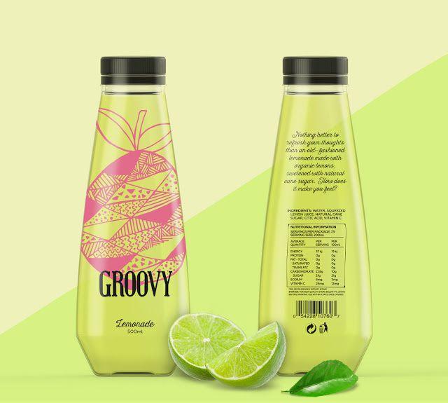 Groovy (jus de fruits bio) | Design (projet étudiant) : Loreley Videla & Laura Aguilar (Elisava Escola de Disenny), Barcelone, Espagne (octobre 2015)