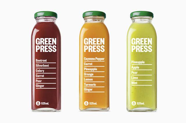 Green Press (jus de fruits pressés à froid)   Design :  Dimes Design, Melbourne, Australie (février 2016)