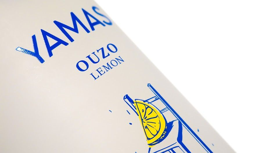 Yamas Drink (ouzo au citron) | Design : Kommigraphics Design Studio, Athènes, Grèce (mars 2016)