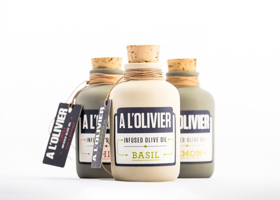 A l'Olivier (huiles d'olive infusées) | Design (projet étudiant) : Ana Paulsen (Academy of Art), Roseville, Etats-Unis (mai 2016)