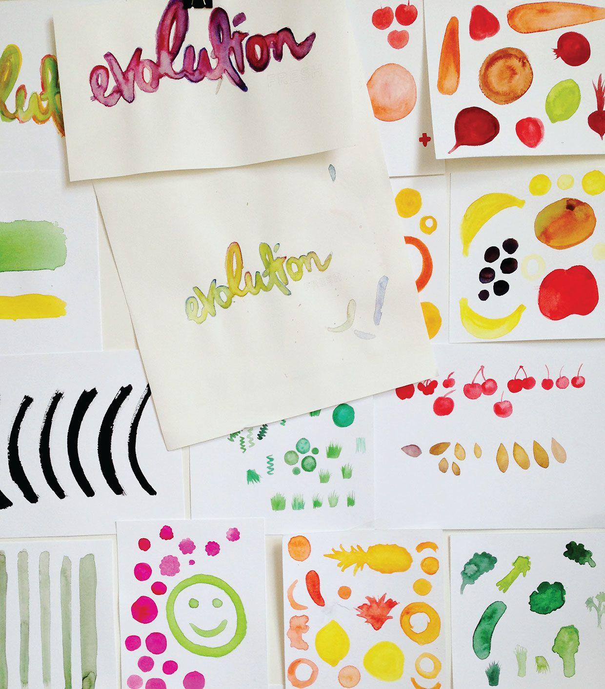 Evolution Fresh (jus de fruits & légumes) | Design : Hornall Anderson, États-Unis (août 2016)