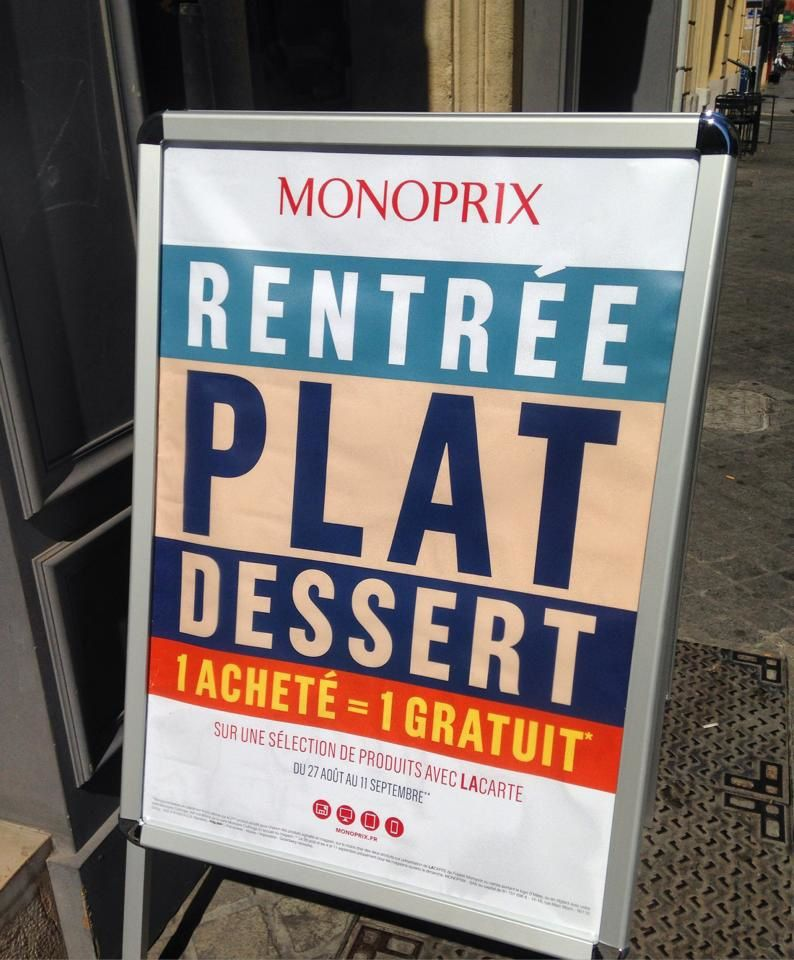 """Rentrée, Plat, Dessert"" - Monoprix 