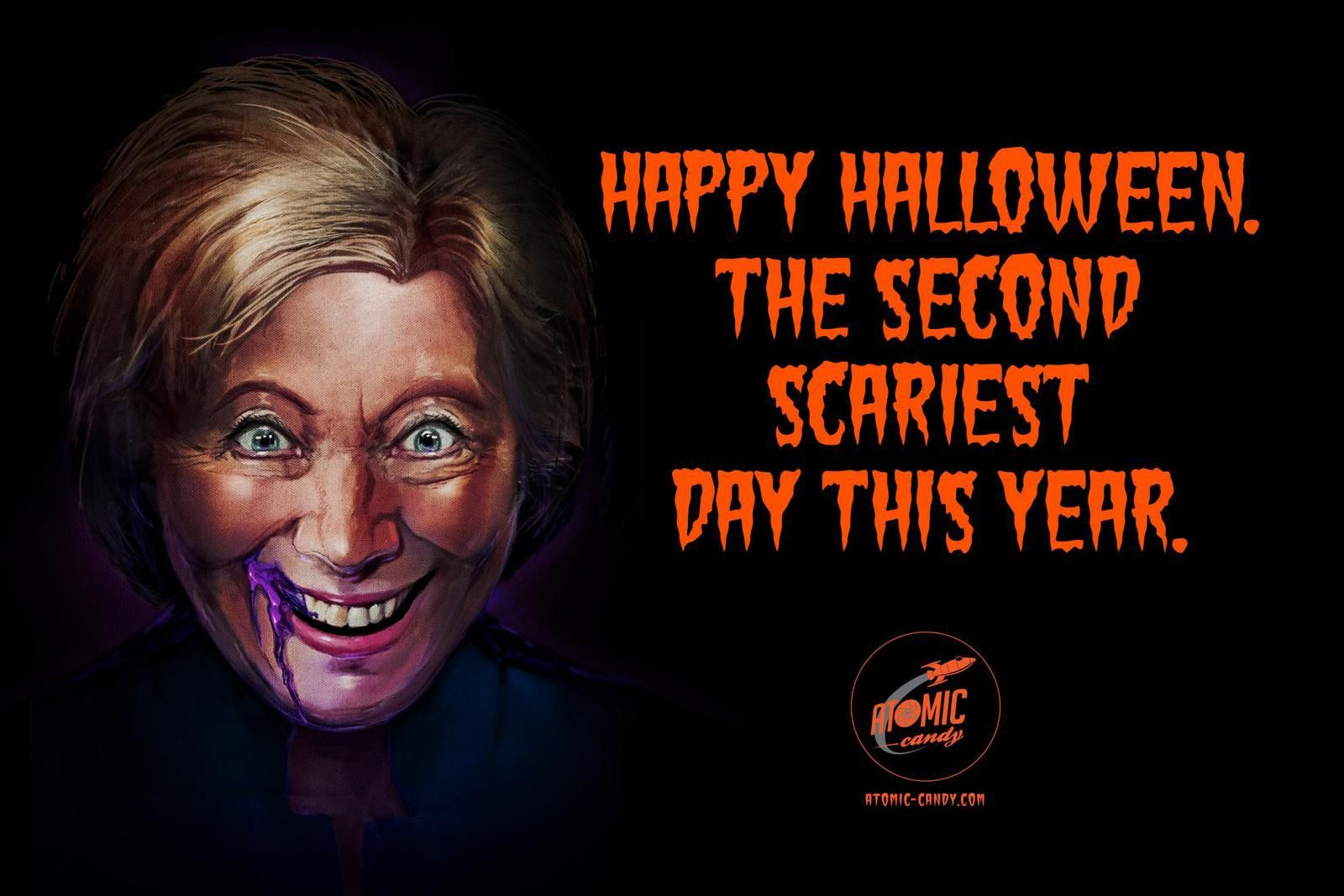 """The second scariest day of the year""/Halloween : Trump & Hilary - Atomic Candies I Agence :  Innocean, New York, Etats-Unis (octobre 2016)"