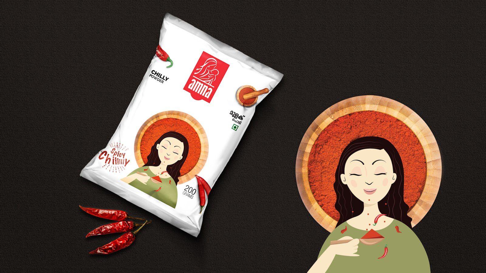 Amna Spice Mix - Amna Food Industries Pvt. Ltd. (épices) I Design : Capio Interactive, Kerala, Inde (décembre 2016)