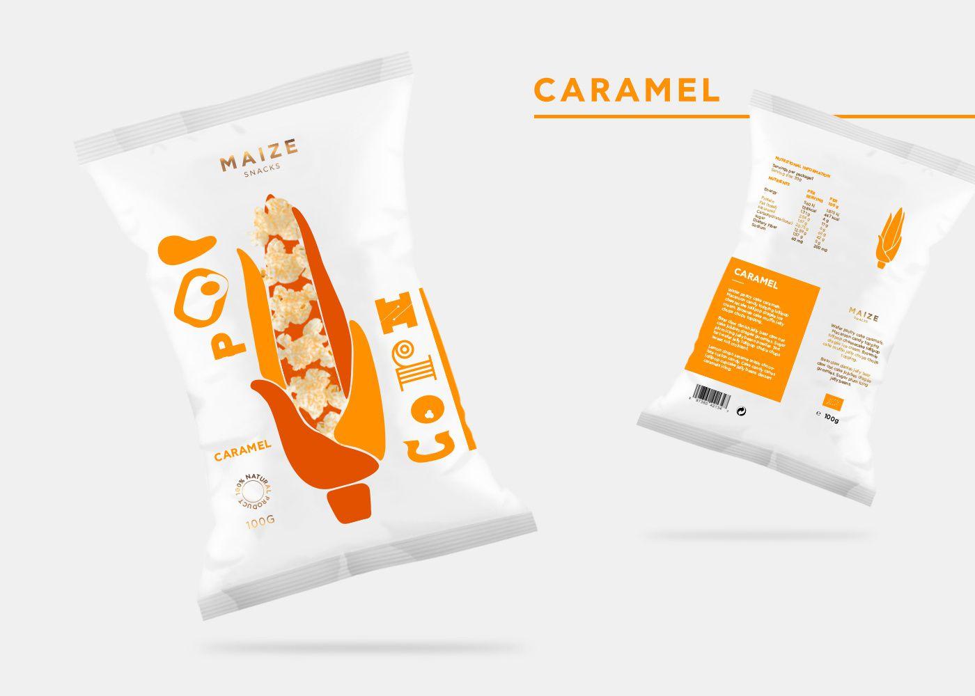Maize (snack gourmet : pop corn aromatisé) I Design (concept) : Gabriela Dule, Allemagne (mars 2017)