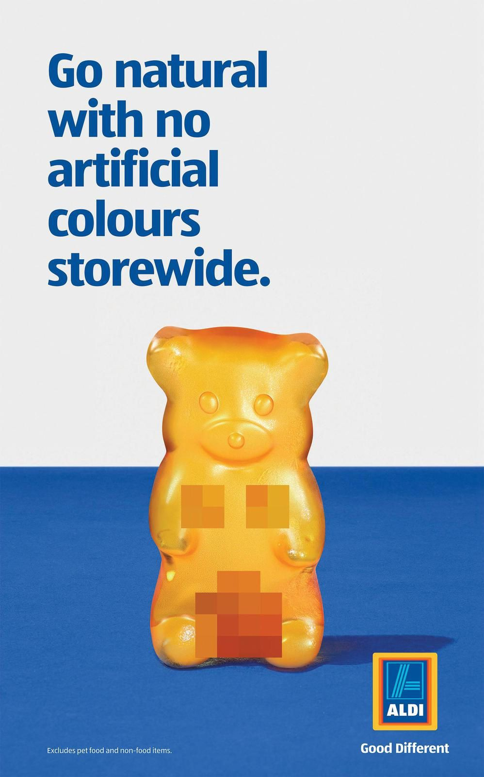 "ALDI - ""Go natural with no artificial colours storewide"" (bonbons sans colorants artificiels) I Agence : BMF, Australie (septembre 2017)"