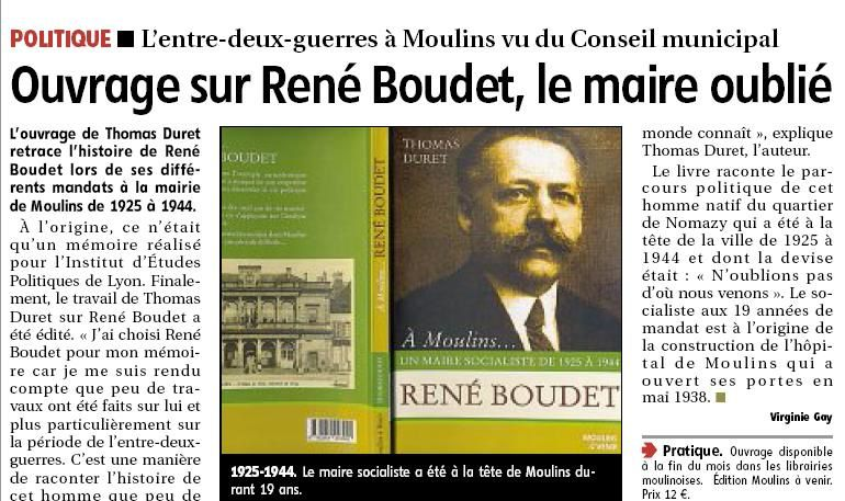 Dans le journal local la montagne ren boudet a moulins un maire sociali - Le journal la montagne ...