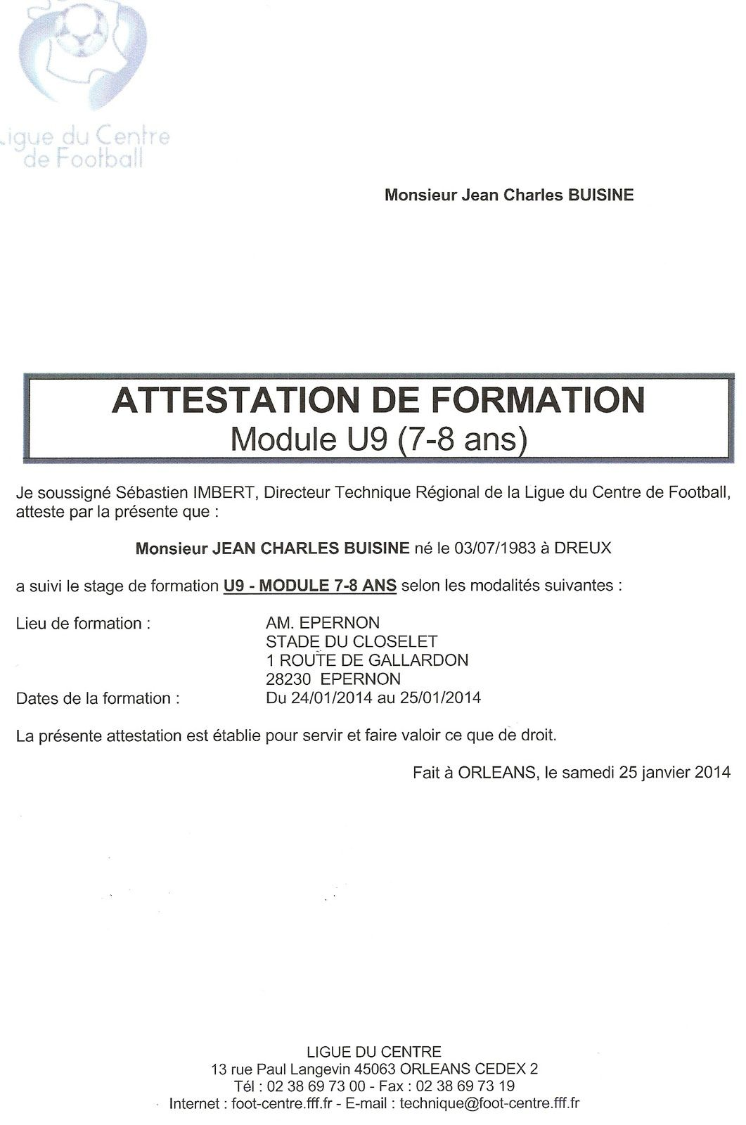 attestation de stage de formation. Black Bedroom Furniture Sets. Home Design Ideas