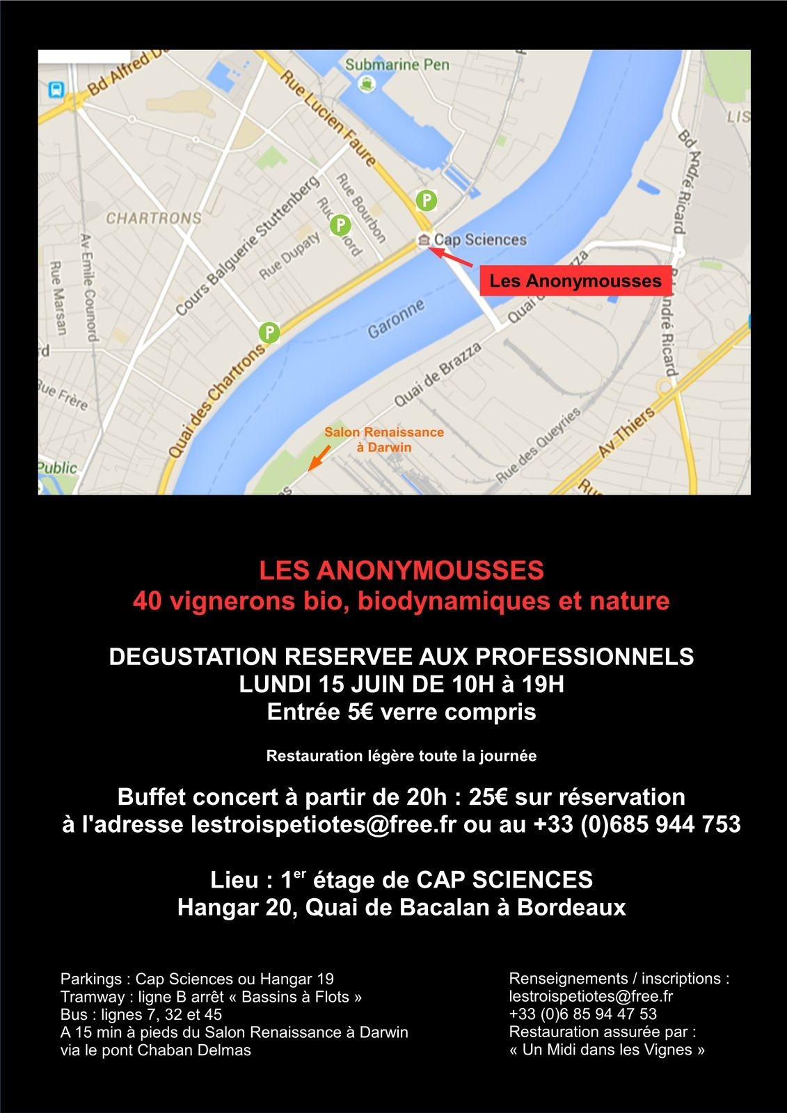 Les Anonymousses 2015 lundi 15 juin à Cap Sciences Bordeaux