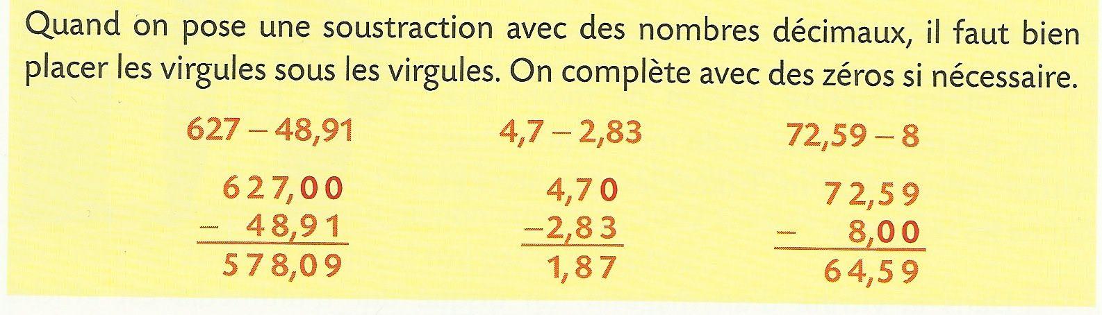 Calcul (8): Soustraire des nombres décimaux
