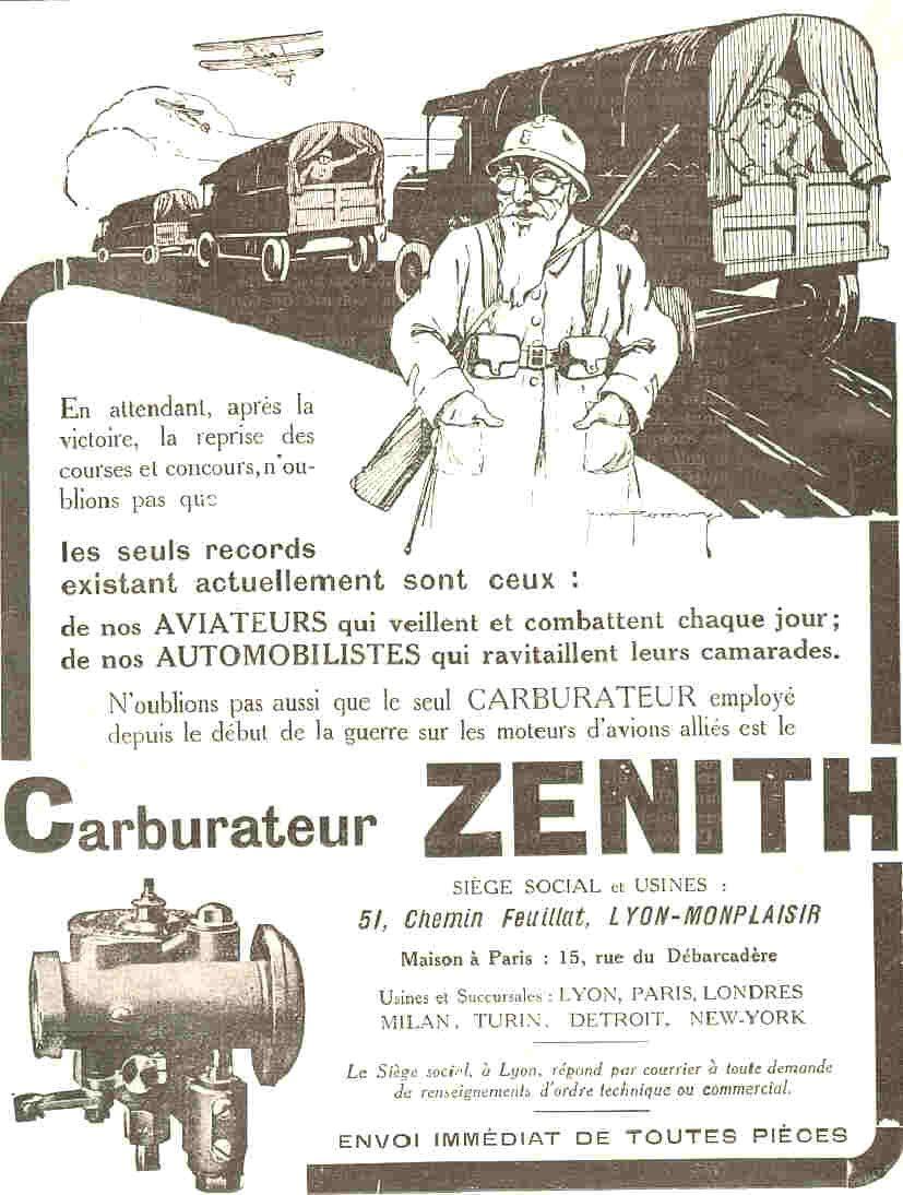 18 juillet 1917, le carburateur Zenith dans le moteur de la Victoire... Le poilu semble avoir un certain âge..
