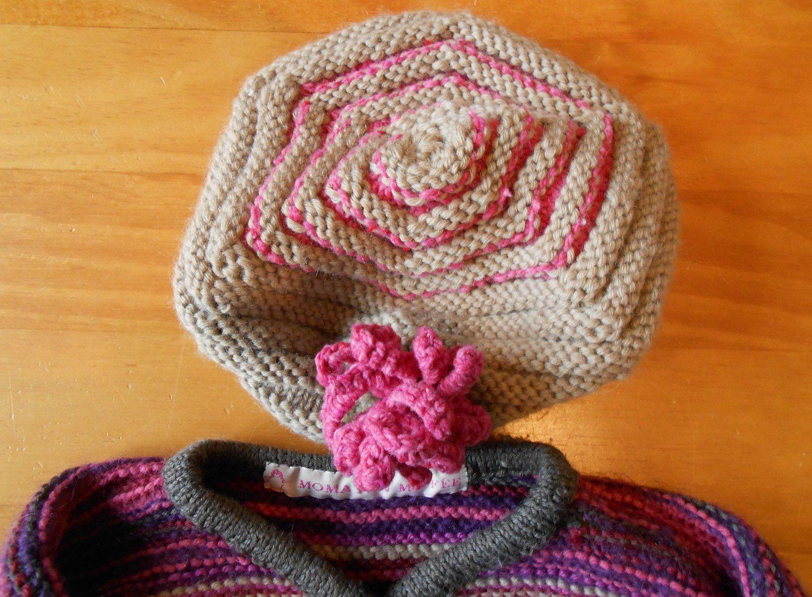 tricot layette: le chapeau hexagonal assorti au gilet pour Léontine