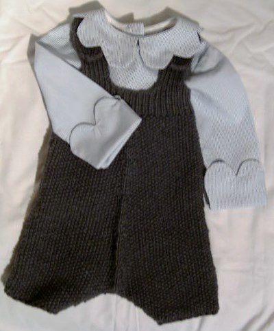 Tricot layette : ensemble gilet culotte à bretelles et chemise pour Nathan